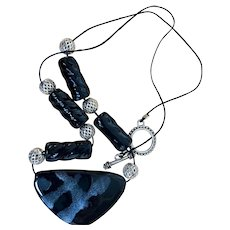 Artisan: Black and  Gray Kazari and silver necklace:24 inches