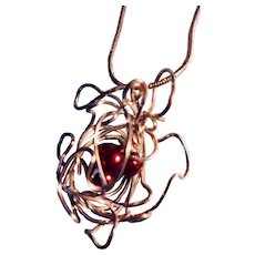 """Artisan Necklace: Silver wire nest with 3 ruby glass pearls: Snake link chain: 20 inches"""""""
