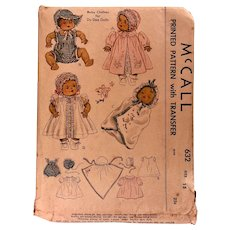Vintage McCall printed pattern/transfer: 1938: Baby clothes for DyDee Dolls