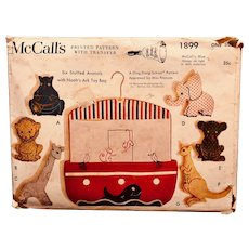 Vintage McCall's pattern 1899: Six Stuffed Animals and Noah's Ark  Bag: Miss Frances Horwich: Ding Dong School: 1954