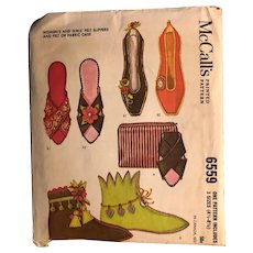 Vintage McCall's Pattern 6559: slippers and booties: 1962