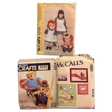Three Unused McCall's craft patterns; Raggedy Ann and Andy and Girls dress: 4268: Berenstain Bears: 9325: Farm quilts: 6316; 1960s-1970s