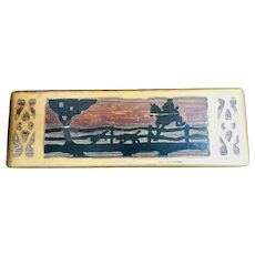 Wooden gold and black cigarette box: carved top: rider on a horse jumping a fence: 30-40's