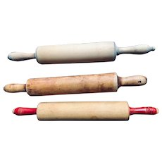 Rolling pins: Three vintage wooden pins: 30s-50s: Farmhouse: