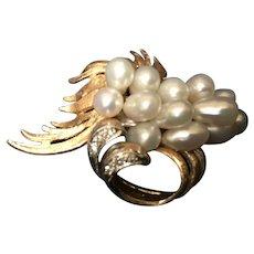 Pearl and Diamond waterfall pin: 14K  gold