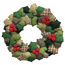 Christmas wreath: hand made calico leaves: 25 inches: 1970s