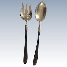 Antique: 13 inch silver salad fork and spoon; ebony handles: First Family of Virginia