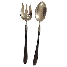 Reduced! Antique: 13 inch silver salad fork and spoon; ebony handles: First Family of Virginia