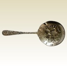 Vintage Repousse Berry Spoon: Kirk and Sons: sterling: 1940s