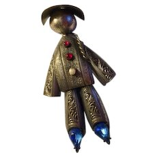 Chinaman pin: silver tone: blue, red stones: pearl: c clasp