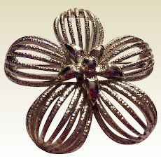 Monet: silver five pedal two inch pin: vintage: 50s-60s