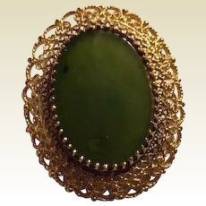 Vintage: Jade Cabochon Pin Pendant: Sterling Vermeil: 50s-60s
