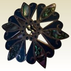 Sterling Silver: Taxco Mexican: Pin/Pendant: 40s: Abalone: Lapis