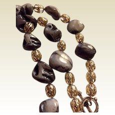 "Artisan Necklace: Zebra quartz nuggets: Silver filigree beads: 20 """