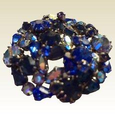 Rhinestone pin: Austrian Aurora Borealis: shades of blues: hallmarked :Made is Austria: