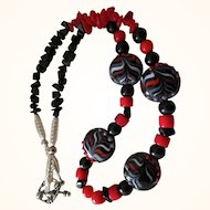 Artisan Necklace: Reds and Blacks: Glass blown beads: Black jet, red coral, Blackstone chips
