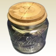 Scham Automatic Sealer Glass jar:  Golden lacquered with wire latch: St Louis