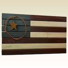 Vintage Wooden USA Flag folk art plaque
