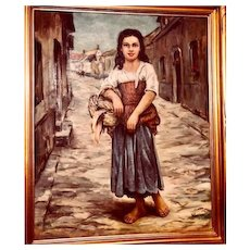 Final reduction: Italian young woman oil painting: John Swalley: 1950-60s