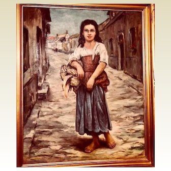 Italian young woman oil painting: John Swalley: 1950-60s