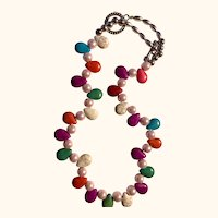 """Artisan Necklace: Summer colors: Nuggets: Pearls: 18"""""""