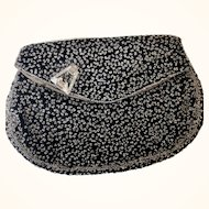 REDUCED:Vintage crystal seed pearl black velvet evening clutch 50s