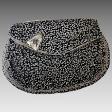 Vintage crystal seed pearl velvet evening clutch 50s