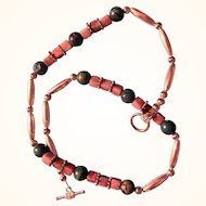 Artisan Necklace: green adventurine rounds: rhodonite squares silver barrels and dics:21 inches