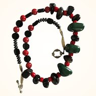 Artisan Necklace: Green and Red Aventurine,  Red coral, Hematite and onyx beads: 22inches