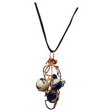 Artisan necklace: Copper wire cloud: Three delft beads: 26 inches