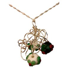 Artisan Necklace: Silver Wire Cloud: Three lampwork Christmas beads: 22 inches