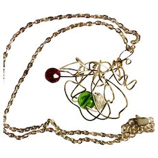 An artisan Christmas silver cloud necklace: silver wire: red, green, clear crystals: 22 inches