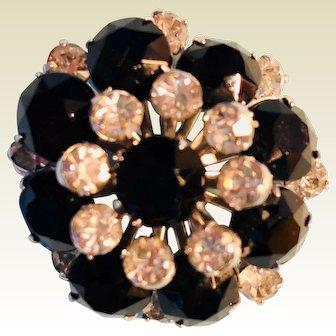 "Vintage: Gorgeous Rhinestone pin: black and crystal: 1"""
