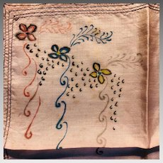 Vintage: Silk Handpainted Hankie: Soft shell with flowers