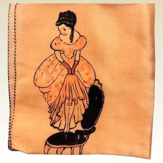 Vintage: Hand painted silk hankie: 30s-40s: women on chair