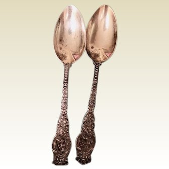 REDUCED! Two antique sterling teaspoons: Wendell Mfg. Co. of Chicago: Ariel: 1895