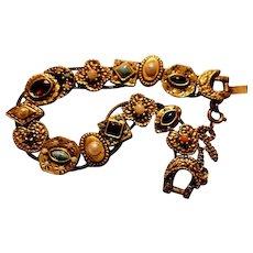 Victorian revival Double chain vintage slide charm bracelet: 50-60s