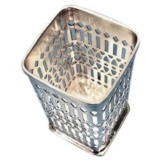 Vintage silver plate basket frame: holds glass or bottle: Sheffield Silver Co: