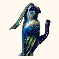Sterling silver Enameled Guilloche parrot pin: greens,blues: Marcasite