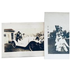 Antique photo postcards:  early 1900s: sepia: Old car:
