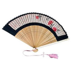 Vintage Japanese hand painted bamboo fan: