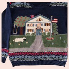 Northern Isles teacher cardigan: 1980s: hand embroidered