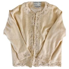 Adolfo pearl and lace embroidered sweater, M, vintage Hong Kong