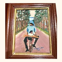 Original oil painting: French father and son on bike: