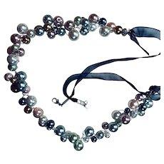 Artisan: faux pearls: gauze ribbon: lobster clasp: OOAK