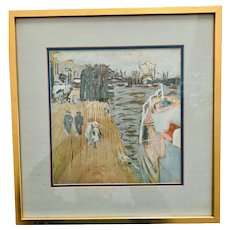 Vintage watercolor print: impressionism: story picture