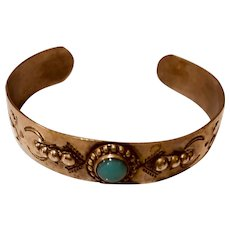 Native American silver turquoise bracelet: turquoise: 50s