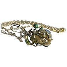 lake Michigan glitter stone: diminutive: wrapped in silver wire: pearls