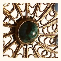 Sterling/vermeil wire filigree sunburst pin: turquoise:: Malachite: Israel: 1960s