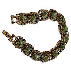 Vintage gold tone link braclet: Jade nuggets :Filegree links